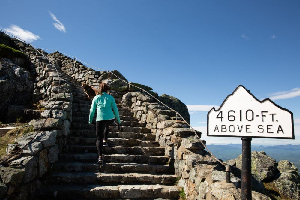 Visitors ascend the stairs to Whiteface's summit.