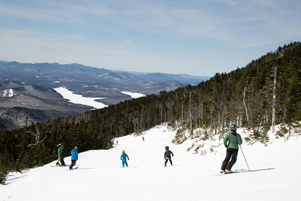 A family with small children ski at Whiteface.