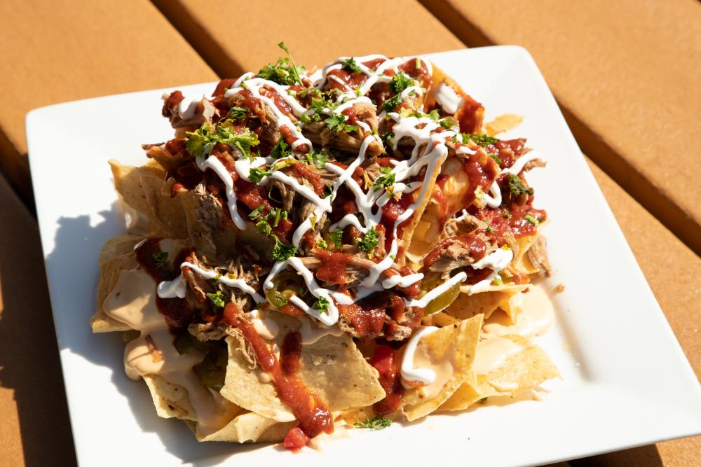 The food at the lodge, like these nachos, is a treat!