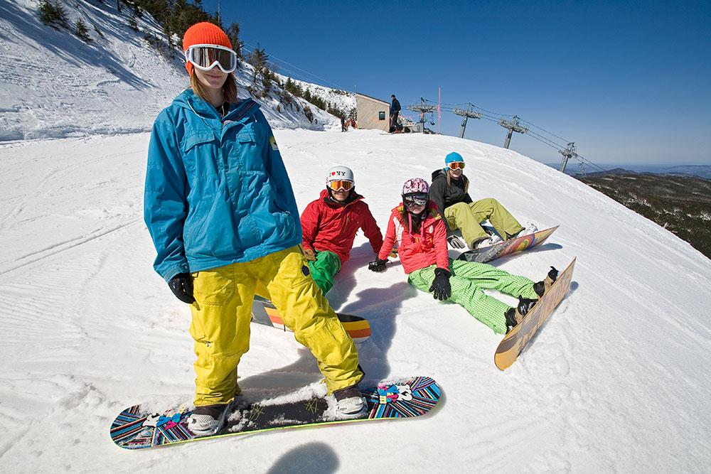 Girls snowboarding at Whiteface