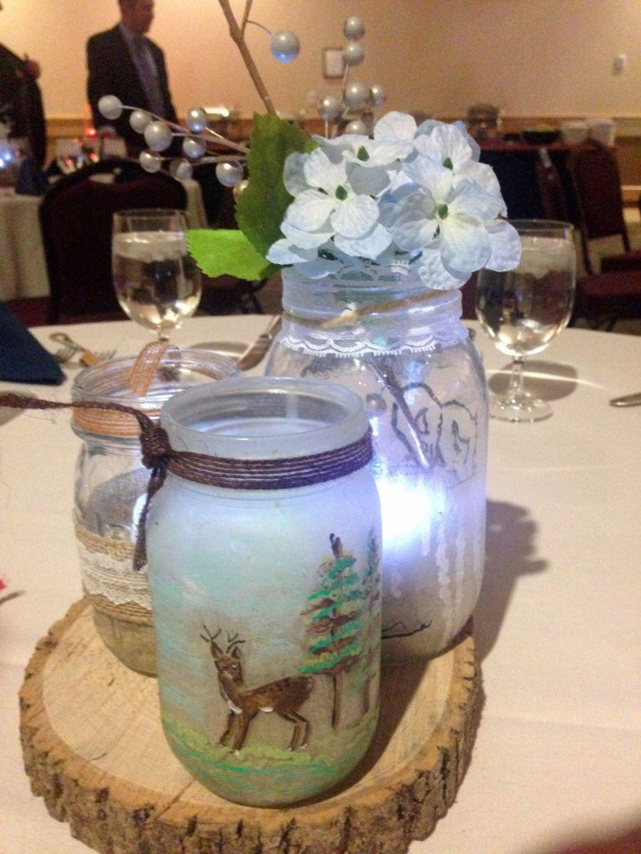 Homemade Adirondack style centerpieces on every table