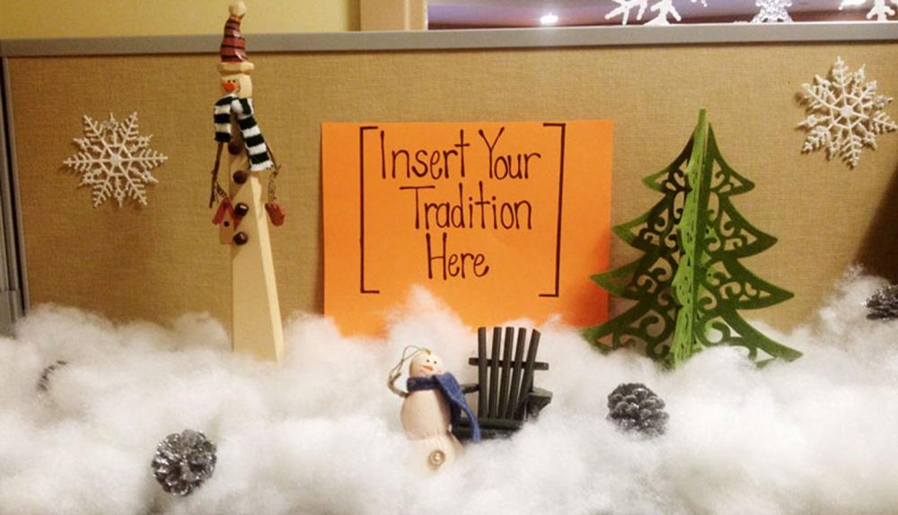 Featuring Kristin's cubicle.  A strong contender in our decorating contest!
