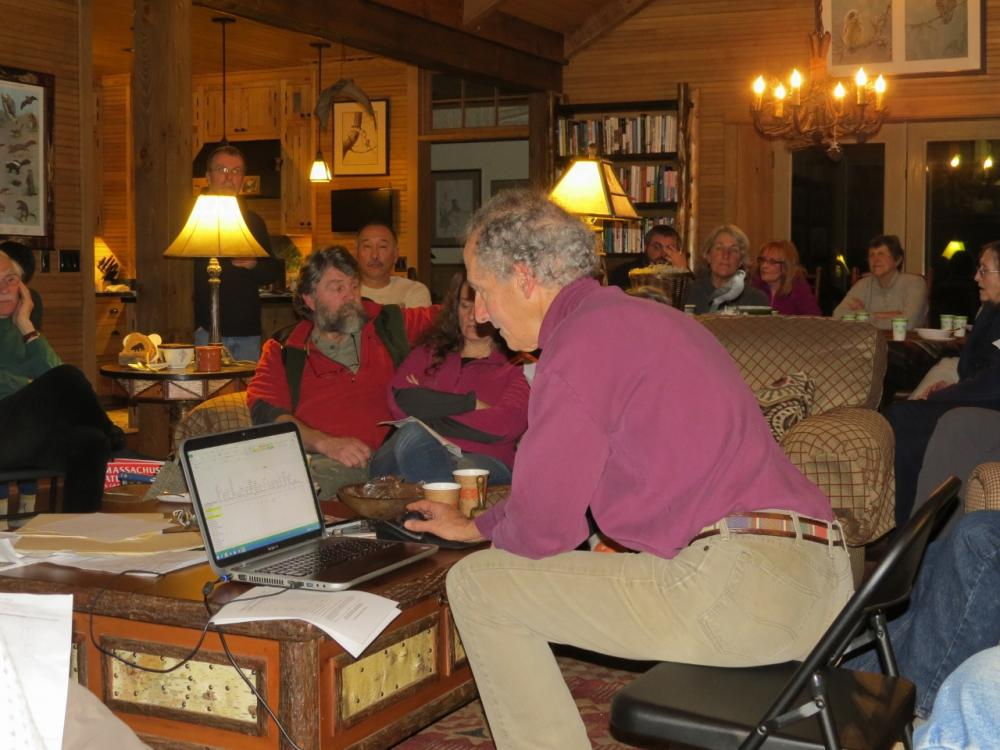 Larry Master tallying the Saranac Lake Christmas Bird Count results