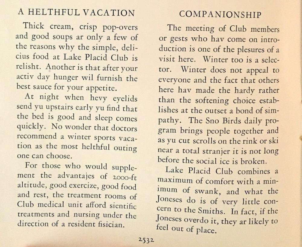 Excerpt from a Lake Placid Club pamphlet