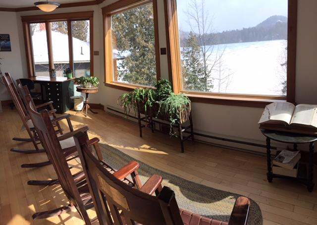 Lake Placid Public Library reading room with a view.