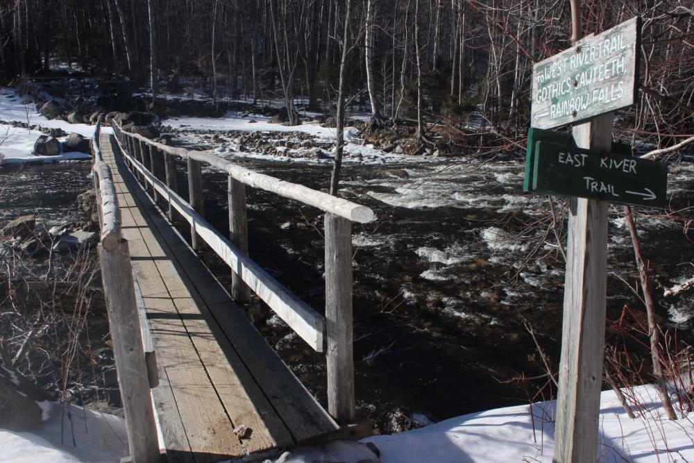 The bridge across Lower Ausable Lake's outlet.