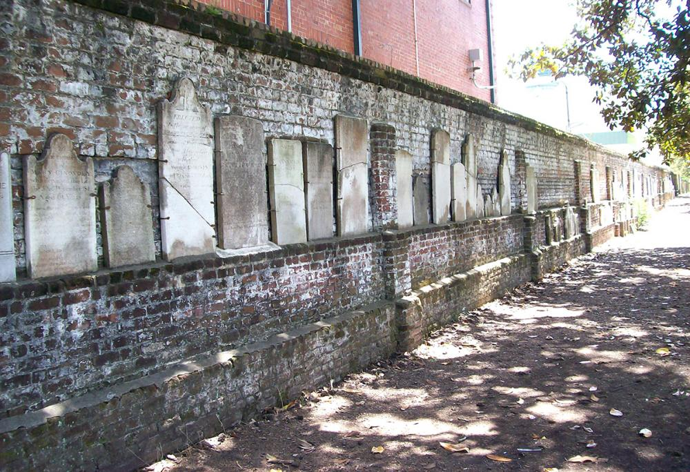 Brick wall with headstones in Colonial Park Cemetery