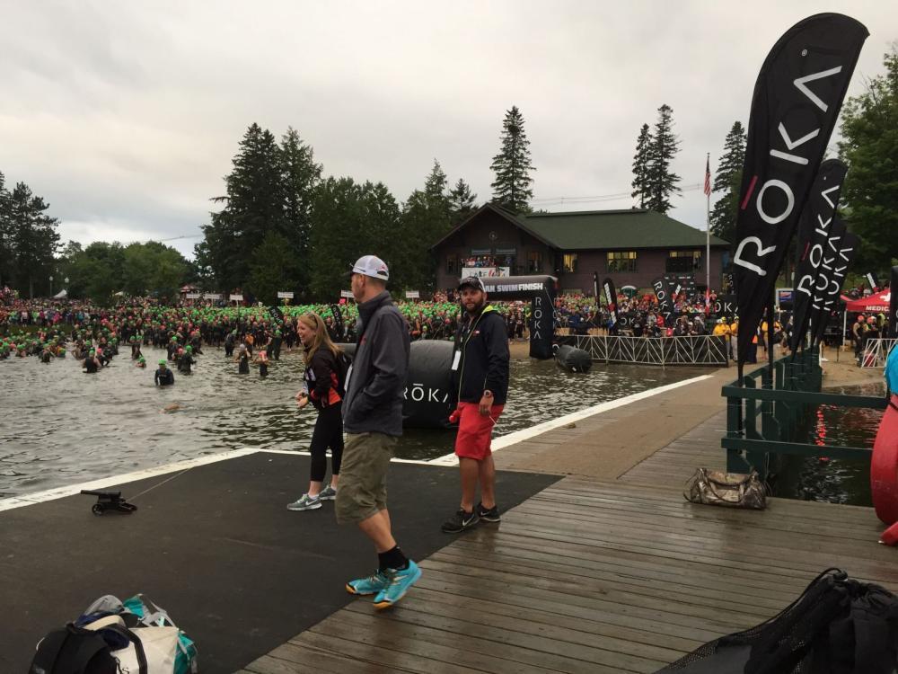 ironman Lake Placid swim start - 2,500 athletes about to hit the water!