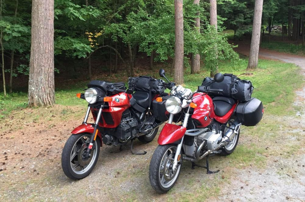 Motorcycles packed and ready to roll.