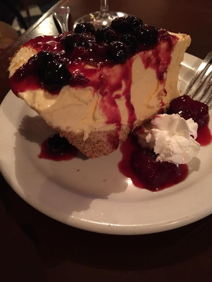 Lemon Ice Cream Cake with blackberry compote