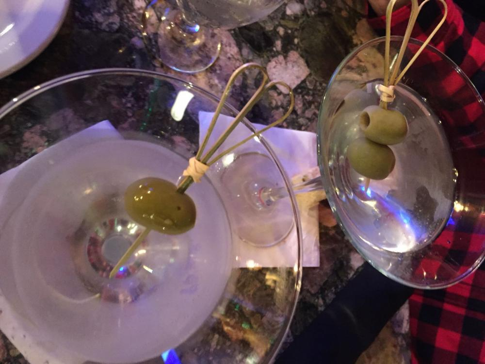 Dirty martinis at Back Alley Bistro