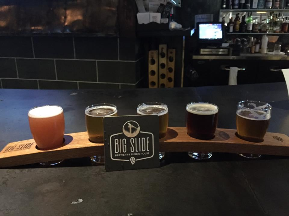 Beer flight at Big Slide