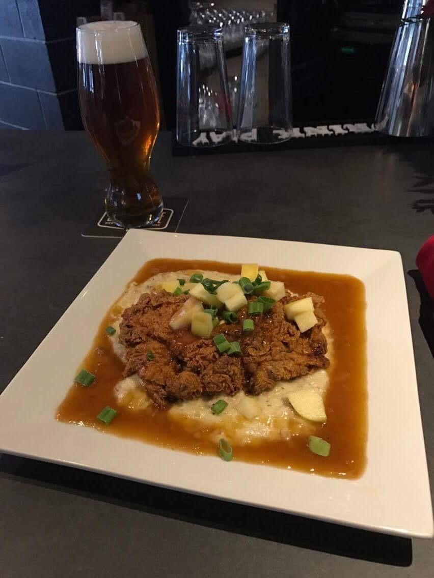 Big Slide Brewery Buttermilk Fried Chicken with Pumpkin Grits. MMMMMMM