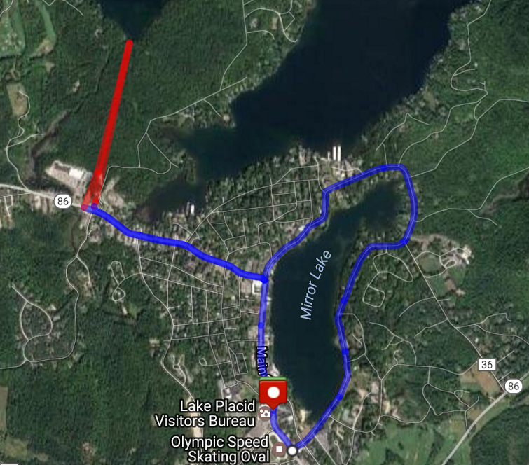 Satellite image of the 10k walking route in Lake Placid.