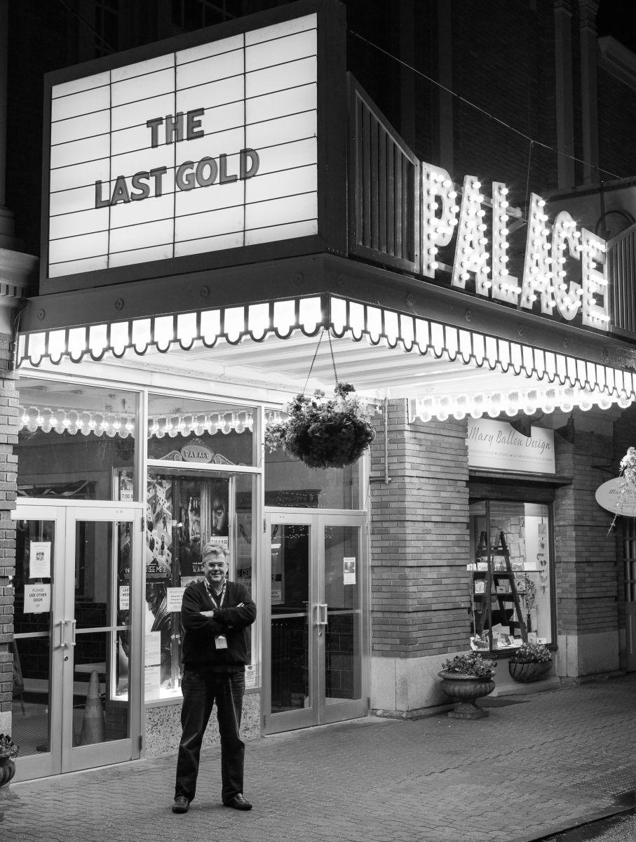 Under the Palace marquee: director Brian T. Brown, whose Olympics-themed documentary