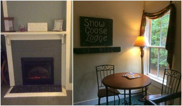 Most rooms have a fireplace with a mantel for a cozy look (left). Many nooks for relaxing and for reading a good book in (right).