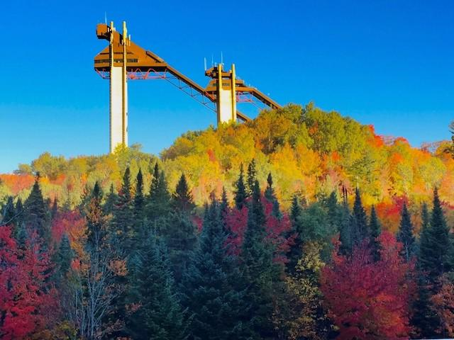 Easiest summit view in town -- the top of the 120 meter ski jump, with 360 degree foliage views.