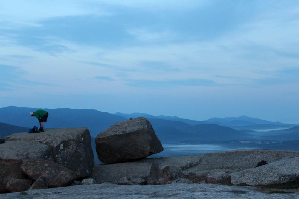 Pitchoff summit at dawn, with some of the boulders on top of the mountain.