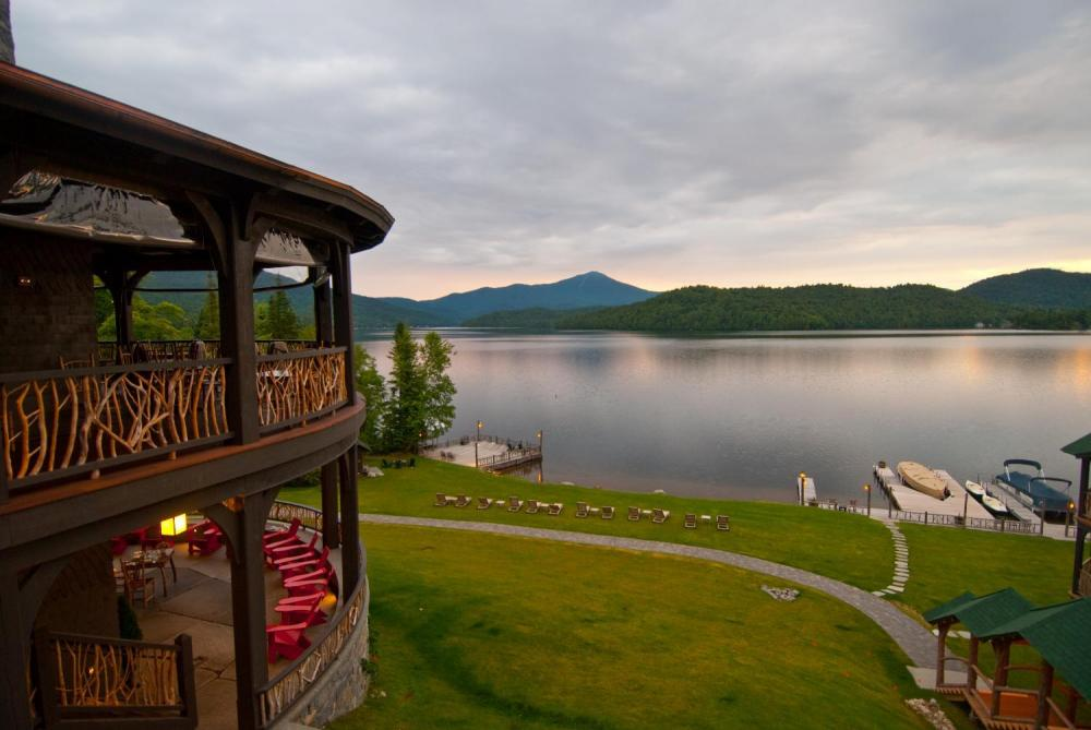 Lake Placid and Whiteface from the second floor porch. Image courtesy Lake Placid Lodge.