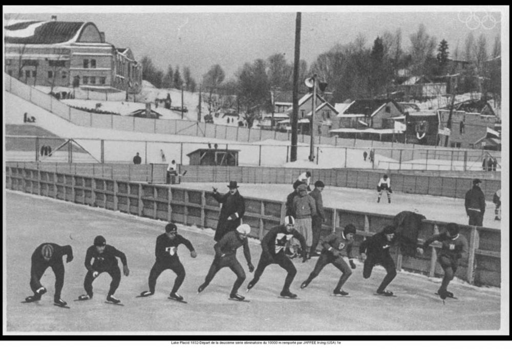 Speed skating at the 1932 Winter Olympics. Courtesy IOC Olympic Museum