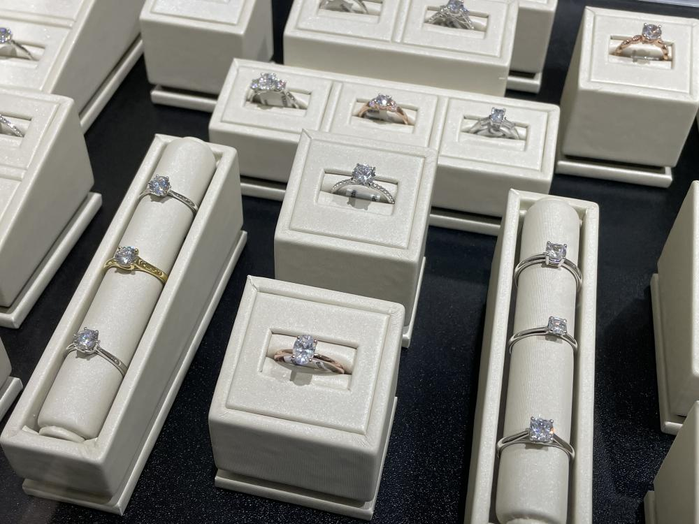 A variety of diamond engagement rings.