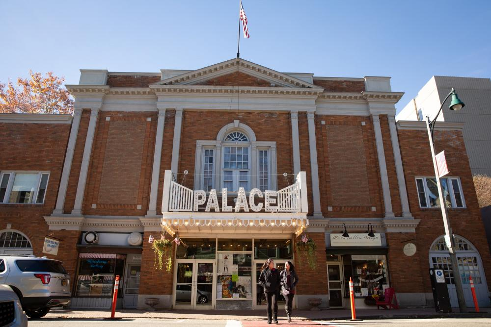 A contemporary exterior of the Palace Theatre, with the more modern marquee prominent.