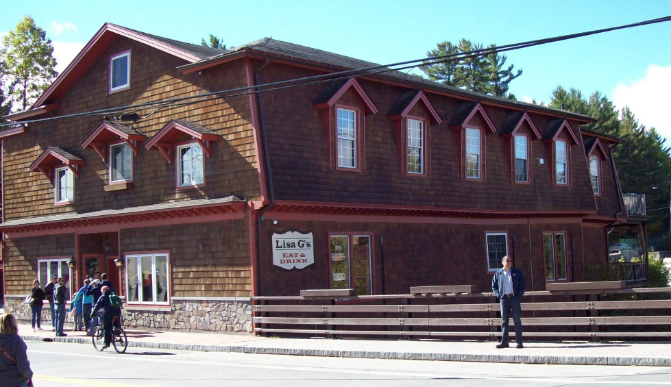 The exterior of Lisa G's restaurant, a renovated 19th century building.