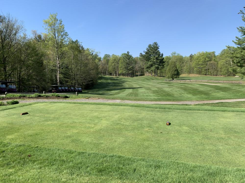 The #1 tee and fairway at Whiteface Resort in the sunshine, with trees all around.