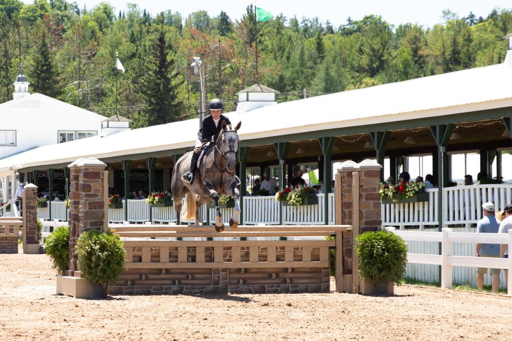 A participant riding a horse as it jumps during competition