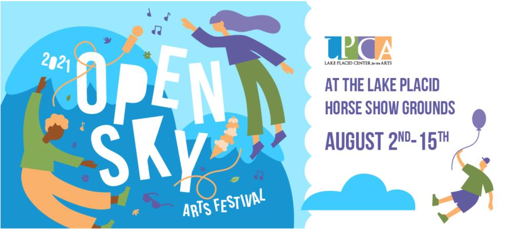A sign for the Open Sky Arts Festival announces dates