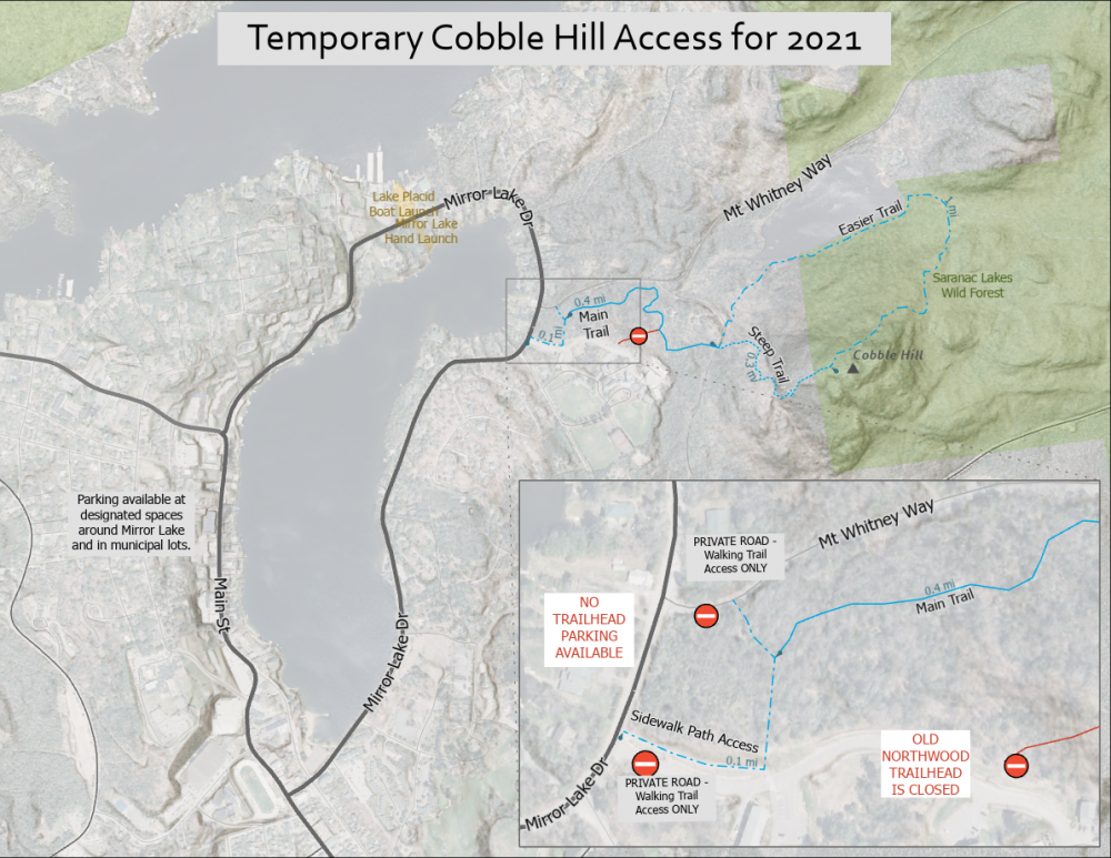 Map of Cobble Hill and where to park in Lake Placid.