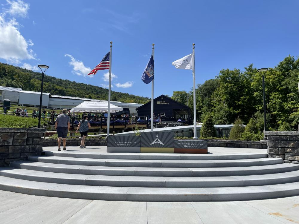 The medal ceremony stand with the Mountain Coaster in the background.