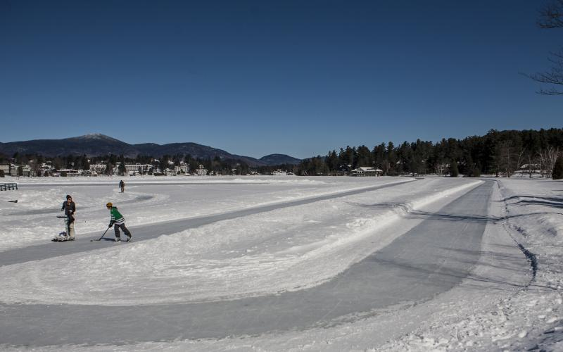 In proper weather, this loop around Mirror Lake makes for a long skate.