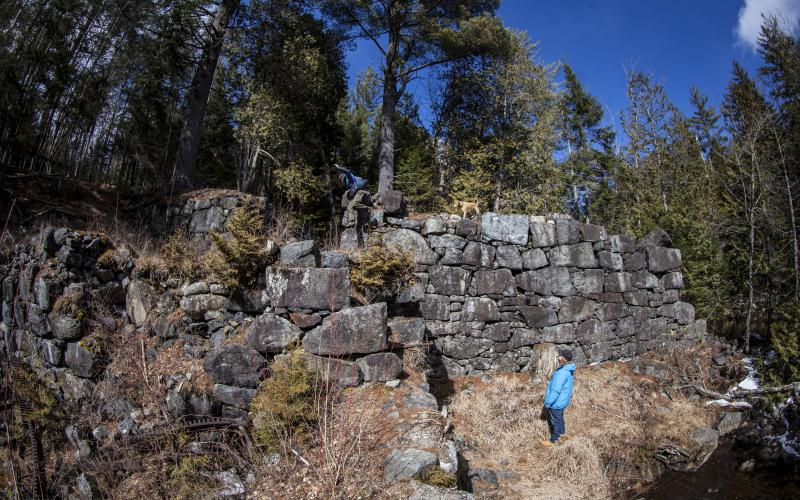 This stone wall still exists from the ghost town.