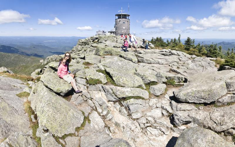 The top of Whiteface Mountain comes with a peak to peak set of stairs and a cafe.
